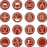 Iconos del recorrido y del hotel Imagen de archivo libre de regalías