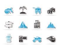 Iconos del recorrido y del transporte del día de fiesta Foto de archivo libre de regalías