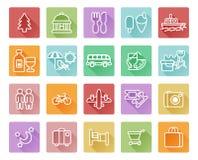 Iconos del recorrido y del turismo Imágenes de archivo libres de regalías