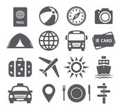 Iconos del recorrido y del turismo Imagenes de archivo