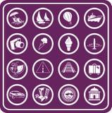 Iconos del recorrido y del turismo Foto de archivo libre de regalías
