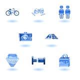 Iconos del recorrido y del turismo Imagen de archivo libre de regalías