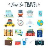 Iconos del recorrido y del turismo ilustración del vector