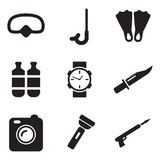 Iconos del regulador de inmersión Imagen de archivo libre de regalías