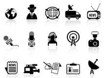 Iconos del reportero de las noticias fijados Imagen de archivo