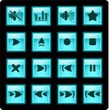 Iconos del reproductor multimedia Foto de archivo libre de regalías