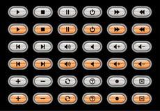 Iconos del reproductor multimedia Imagen de archivo