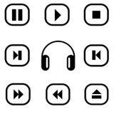Iconos del reproductor multimedia del vector fijados multimedias Imagen de archivo