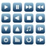 Iconos del reproductor multimedia fijados Imágenes de archivo libres de regalías