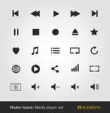 Iconos del reproductor multimedia fijados Fotografía de archivo