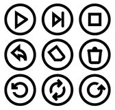 Iconos del reproductor multimedia fijados Fotografía de archivo libre de regalías
