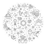 Iconos del resorte fijados Jardín de la primavera, flores y equipo que cultiva un huerto Estilo plano del diseño stock de ilustración