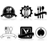 Iconos del restaurante stock de ilustración