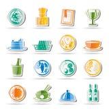 Iconos del restaurante, del alimento y de la bebida Imágenes de archivo libres de regalías