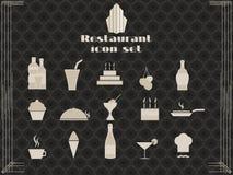 Iconos del restaurante en estilo del art déco Iconos el cocinar y de la cocina Fotografía de archivo libre de regalías
