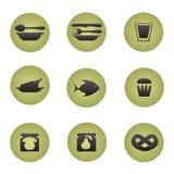 Iconos del restaurante fijados. Ilustración del Vector