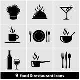 Iconos del restaurante fijados Fotos de archivo libres de regalías