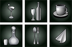 Iconos del restaurante fijados. Fotos de archivo libres de regalías