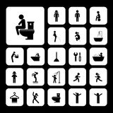 Iconos del retrete y de la higiene Imágenes de archivo libres de regalías