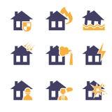 Iconos del riesgo del seguro del hogar y de la casa Foto de archivo libre de regalías