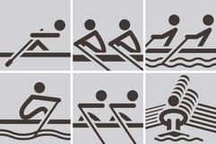 Iconos del rowing Foto de archivo libre de regalías