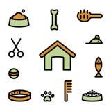 Iconos del símbolo del animal doméstico ilustración del vector