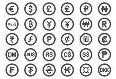 Iconos del símbolo de moneda libre illustration