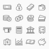 Iconos del símbolo del movimiento del esquema de las finanzas y del dinero Fotos de archivo libres de regalías