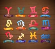 Iconos del símbolo del zodiaco en fondo de madera realista Ilustración del vector Imagen de archivo libre de regalías