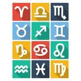 Iconos del símbolo del zodiaco Estilo plano Fotografía de archivo