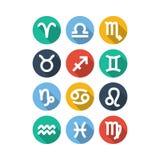 Iconos del símbolo del zodiaco Estilo plano Fotos de archivo