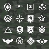 Iconos del símbolo militar y fuerzas especiales de los logotipos stock de ilustración