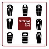 Iconos del saco de dormir fijados Imagen de archivo libre de regalías
