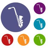 Iconos del saxofón fijados Imagenes de archivo