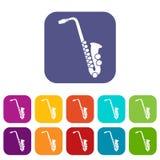 Iconos del saxofón fijados Fotografía de archivo libre de regalías