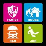 Iconos del seguro Fotografía de archivo libre de regalías