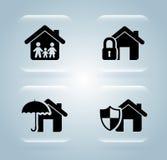 Iconos del seguro Imagen de archivo libre de regalías