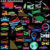 Iconos del seguro de coche Foto de archivo libre de regalías