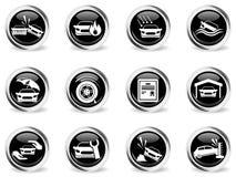 Iconos del seguro de coche fijados Foto de archivo