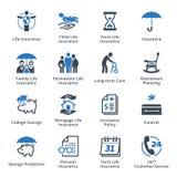 Iconos del seguro de vida - serie azul Fotografía de archivo libre de regalías