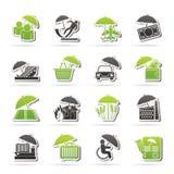 Iconos del seguro, del riesgo y del negocio Imágenes de archivo libres de regalías