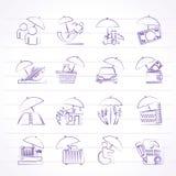 Iconos del seguro, del riesgo y del negocio Imagen de archivo