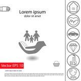 Iconos del seguro del vector fijados: icono grande del seguro de la familia y pequeños otros Imagen de archivo libre de regalías