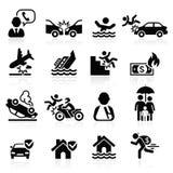 Iconos del seguro fijados Imagen de archivo libre de regalías