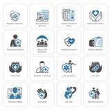 Iconos del seguro y de los servicios médicos fijados Foto de archivo libre de regalías