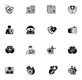 Iconos del seguro y de los servicios médicos fijados Fotografía de archivo