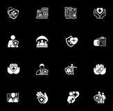 Iconos del seguro y de los servicios médicos fijados Foto de archivo