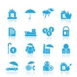 Iconos del seguro y del riesgo Foto de archivo libre de regalías