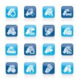 Iconos del seguro y del riesgo Fotografía de archivo