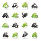Iconos del seguro y del riesgo Fotografía de archivo libre de regalías